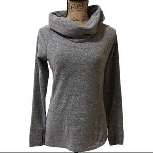 Athleta Grey Cowl Neck Pullover Sweatshirt Sz S